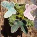 Pillangók, Dekoráció, Otthon, lakberendezés, Dísz, Fehérre égő agyagból készítettem ezeket a pillangókat ..   Mázazott,kétszer égetett kerámiák. A  pil..., Meska