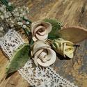 3 szál rózsa ,levéllel, Dekoráció, Otthon, lakberendezés, Dísz, Fehérre égő agyagból készítettem ezeket a rózsákat és a leveleket. Az egyik rózsa natúr, a másik ket..., Meska