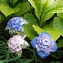 Hortenzia, Dekoráció, Otthon, lakberendezés, Dísz, Fehérre égő agyagból készítettem ezeket a virágokat.  Mázazott,kétszer égetett kerámiák. A  virágok ..., Meska