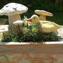 Apró gombák,virágok és egy madárka :), Dekoráció, Otthon, lakberendezés, Dísz, Fehérre égő agyagból készítettem ezeket az apró gombákat ,pici virágokat és a madárkát.   A gombákna..., Meska