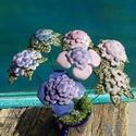 7 szál hortenzia, Dekoráció, Otthon, lakberendezés, Dísz, Fehérre égő agyagból készítettem ezeket a virágokat.  Mázazott,kétszer égetett kerámiák. A  virágok ..., Meska