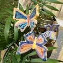 Tarka pillangók. :), Dekoráció, Otthon, lakberendezés, Dísz, Fehérre égő agyagból készítettem ezeket a pillangókat ..   Mázazott,kétszer égetett kerámiák amiket ..., Meska