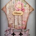 Házikós kulcstartó, Dekoráció, Otthon, lakberendezés, Tárolóeszköz, 27x 20 cm nagyságú,házikó alakú kulcstartó. Pici kulcskarikával, nyomdával,rizspapírral dí..., Meska