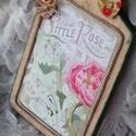 Romantikus vágódeszka dekoráció, Dekoráció, Konyhafelszerelés, Dísz, Vágódeszka, Ajtódísz, kopogtató, Decoupage, transzfer és szalvétatechnika, Famegmunkálás, Natúr vágódeszkát festettem, scrapbook papírral és antikolással díszítettem, egy kis zsinór és pár ..., Meska