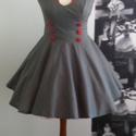 Vintage ruha, Ruha, divat, cipő, Női ruha, Ruha, Szürke vászon ruha, piros vászon pánttal. Felsőrészt 6 piros gomb díszíti. Baloldalon rejtet..., Meska