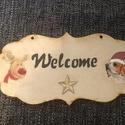 Ajtótábla, Dekoráció, Üdvözlő ajtótábla Welcome felirattal, rénszarvassal és beagle kutyussal., Meska