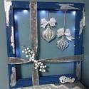 Karácsonyi ddekoráció, Karácsony & Mikulás, Karácsonyi dekoráció, Festett tárgyak, !!! KARÁCSONYI DEKORÁCIÓ !!!  Egy régi (45x45 cm) ablakkeretet varázsoltunk újjá. Csiszoltuk, pucol..., Meska
