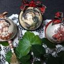 Karácsonyfadísz, Karácsony & Mikulás, Karácsonyfadísz, Decoupage, transzfer és szalvétatechnika, Festett tárgyak, !!! KARÁCSONYI VINTAGE DEKOR GÖMBÖK !!!  Nyakunkon a karácsony! Egyedi készítésű karácsonyfadíszekk..., Meska