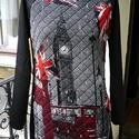 Life in London - női felső, Ruha, divat, cipő, Női ruha, Felsőrész, póló, Varrás, London mintás steppelt pamut anyagból készült egyedi pulóver. Raglán ujjú, háta és ujja fekete szöv..., Meska
