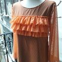 Peach and Spring - női felső, Ruha, divat, cipő, Női ruha, Felsőrész, póló, Tavasz váró felső pettyes tüll-polyester anyagból, kellemes narancsos barack színben, romantik..., Meska