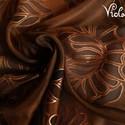 Magyaros kiskendő 7. selyemkendő, Képzőművészet, Textil, Festett tárgyak, Selyemfestés, Ezen a kis kendőn kalocsai ihletésű minták futnak az alappal harmonizáló színekben,bronz-kontúrral ..., Meska