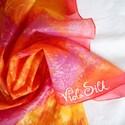 Ragyogó selyem kiskendő, Képzőművészet, Textil, Festett tárgyak, Selyemfestés, Ezen a selymen nagyon élénk színek váltakoznak és folynak finoman egymásba. Van itt pink, piros, na..., Meska