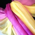 """""""Kornélia"""" EXXXTRA NAGY selyemsál , Ruha, divat, cipő, Női ruha, Selyemfestés, Ezt a selyemsálat sárgával,rózsaszínnel és mályvával, hosszában batikoltam meg. A felület egyedi mi..., Meska"""