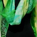"""""""Csupa zöld"""" EXXXTRA NAGY selyemsál , Ruha, divat, cipő, Női ruha, Selyemfestés, Ezen a selyemsálon a zöld különböző árnyalatai futnak hosszában. Szerintem nagyon szép lett!  Élvez..., Meska"""