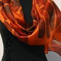 Magyaros N4 (selyemsál), Ruha, divat, cipő, Magyar motívumokkal, Női ruha, A rozsdabarna alappal harmonizáló színekkel festettem meg ezt a kalocsai mintákat feldolgozó se..., Meska