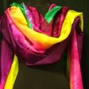 """""""Violet rainbow"""" selyemsál NINCS POSTAKÖLTSÉG!, Ruha, divat, cipő, Női ruha, Ezt a selyemsálat hosszában festettem meg. A felület egyedi mintáját a batikolás részben vél..., Meska"""