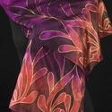 """""""Lilalevélfonat"""" selyemsál , Ruha, divat, cipő, Magyar motívumokkal, Női ruha, Kendő, sál, sapka, kesztyű, Selyemfestés, Ennek a selyemnek az alapja élénk sárga barna és lila,az én hullámzó mintáim, futnak a két végén br..., Meska"""