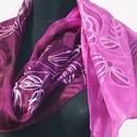 """""""Mályva ragyogás"""" Magyaros (selyemsál), Ruha, divat, cipő, Magyar motívumokkal, Női ruha, Mályva és lila az alapja ennek a selyemsálnak kalocsai inspirációjú motívumok díszítik róz..., Meska"""