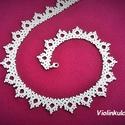 Fehér kis gyöngycsipke nyaklánc, gyöngygallér, Ékszer, Esküvő, Nyaklánc, Esküvői ékszer, Gyöngyfűzés, Ékszerkészítés, Fehér kis gyöngycsipke nyaklánc, gyöngygallér, jó minőségű cseh üveggyöngyből készült.  Kislányokna..., Meska