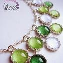 Zöldre hangolva duplasoros üveg nyaklánc, Ez a duplasoros nyaklánc saját színezésű üve...