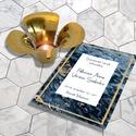 Kékmárvány esküvői meghívó, szett, elegáns esküvőre, Esküvő, Naptár, képeslap, album, Meghívó, ültetőkártya, köszönőajándék, Képeslap, levélpapír, Nagyon elegáns, sötétkék márvány egy kevés finom arany csillogással.  Kiváló minőségű, vastag (250 g..., Meska