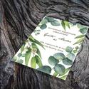 Zöld leveles esküvői meghívó és szett, Esküvő, Naptár, képeslap, album, Meghívó, ültetőkártya, köszönőajándék, Képeslap, levélpapír, Zöld leveles esküvői meghívó és szett: Zöld eukaliptusz levelek, ágak, a természet burjánzását idézv..., Meska
