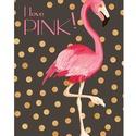 Flamingó kép, arany glamour csillogás, Dekoráció, Otthon, lakberendezés, Képzőművészet, Naptár, képeslap, album, Pink flamingó, csillogó arany konfetti esőben, sötétbarna háttéren. Csajos, glamouros szobába ajánlo..., Meska