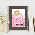 Kiss me! grafika, arany glamour csillogás, Dekoráció, Otthon, lakberendezés, Képzőművészet, Naptár, képeslap, album, Kiss me! feliratú grafika, arany rúzsnyom akvarell konfetti esőben. Csajos, glamouros szobába ajánlo..., Meska