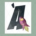 Űrhajós betűk, fiúszobába, Baba-mama-gyerek, Otthon, lakberendezés, Gyerekszoba, Baba falikép, Fiús feliratok űrhajókkal, bolygókkal, üstökösökkel, meteorrajjal, galaxisokkal - a Hold, a Föld, ső..., Meska