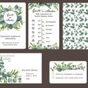 Zöld leveles esküvői meghívó szett, Esküvő, Naptár, képeslap, album, Meghívó, ültetőkártya, köszönőajándék, Képeslap, levélpapír, Zöld leveles esküvői meghívó szett: Zöld eukaliptusz levelek, ágak, különleges kör alakú keretbe ren..., Meska