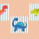 Vidám dínók - 3 darabos kép sorozat gyerekszobába, babaszobába, Vidám, színes dinoszauruszok. A számítógépes...