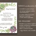 Kövirózsás esküvői meghívó és szett, Esküvő, Naptár, képeslap, album, Meghívó, ültetőkártya, köszönőajándék, Képeslap, levélpapír, Kövirózsás esküvői meghívó és szett: Kövirózsák és más pozsgás növénykék, a sarkoknál keretet alkotó..., Meska