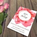Óriás pink virágos esküvői meghívó és szett, Esküvő, Naptár, képeslap, album, Meghívó, ültetőkártya, köszönőajándék, Képeslap, levélpapír, Egyetlen nagy méretű, attraktív festett virág díszíti ezt a szettet pici arany csillogással feldobva..., Meska