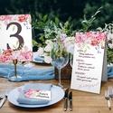 Tíz darabos asztali szett esküvőre, rendezvényre, Esküvő, Naptár, képeslap, album, Meghívó, ültetőkártya, köszönőajándék, Esküvői dekoráció, Vidám, színpompás virágözön. Amellett, hogy információt hordoznak, csodásan feldobják a terítéket is..., Meska
