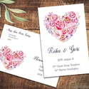 Esküvői meghívó különleges borítékban, szív alakban virágokkal, pünkösdi rózsával