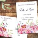 """Esküvői meghívó különleges borítékban, virágokkal, pünkösdi rózsával, Esküvő, Naptár, képeslap, album, Meghívó, ültetőkártya, köszönőajándék, Képeslap, levélpapír, Vidám, színpompás virágok özöne. A leginkább pünkösdi rózsára hasonlító virágok közül """"nő ki"""" a szöv..., Meska"""