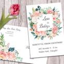 Esküvői meghívó különleges borítékban, pasztell virágokkal