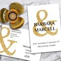 Esküvői meghívó különleges borítékban - arany and, Esküvő, Naptár, képeslap, album, Meghívó, ültetőkártya, köszönőajándék, Képeslap, levélpapír, Modern, letisztult, mégis elegáns és egyedi ez a grafika. Egyetlen, nagyméretű, csillogó arany & a h..., Meska