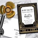 Esküvői meghívó különleges borítékban - Nagy Gatsby, Esküvő, Naptár, képeslap, album, Meghívó, ültetőkártya, köszönőajándék, Képeslap, levélpapír, Igazi Nagy Gatsby életérzés: arany és fekete art deco motívumok, különleges, korhű betűtípusokkal.  ..., Meska