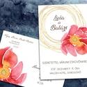 Esküvői meghívó különleges borítékban - nagy virág arany firkával