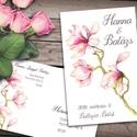 Esküvői meghívó különleges borítékban, magnóliával, Esküvő, Naptár, képeslap, album, Meghívó, ültetőkártya, köszönőajándék, Képeslap, levélpapír, Egy csodás, pasztell rózsaszín magnólia ág díszíti ezt a meghívót. A borítékra ugyanaz a grafika van..., Meska