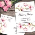 Esküvői meghívó különleges borítékban, magnóliával, Két csodás, pasztell rózsaszín magnólia ág k...