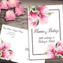 Esküvői meghívó különleges borítékban, magnóliával, Esküvő, Naptár, képeslap, album, Meghívó, ültetőkártya, köszönőajándék, Képeslap, levélpapír, Egy pasztell rózsaszín magnóliákból álló csokor díszíti ezt a meghívót. A borítékra ugyanaz a csodás..., Meska