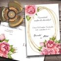 Esküvői meghívó különleges borítékban - rózsák, Esküvő, Naptár, képeslap, album, Meghívó, ültetőkártya, köszönőajándék, Képeslap, levélpapír, Az esküvők virágai: festett rózsák, rózsaszínben - egy cseppnyi arany csillogással.  Az alap szett t..., Meska