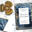 Esküvői meghívó különleges borítékban - kékmárvány