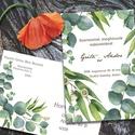 Esküvői meghívó különleges borítékban - greenery, Esküvő, Naptár, képeslap, album, Meghívó, ültetőkártya, köszönőajándék, Képeslap, levélpapír, Zöld eukaliptusz levelek, ágak, a természet burjánzását idézve. Az alap szett tartalma: -1db 10x15 c..., Meska