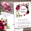 Esküvői meghívó különleges borítékban - virágözön, Színpompás virágok özöne, különleges kör a...