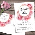 Esküvői meghívó különleges borítékban - rózsák, Esküvő, Naptár, képeslap, album, Meghívó, ültetőkártya, köszönőajándék, Képeslap, levélpapír, Klasszikus rózsaszínű rózsák, különleges kör alakú keretbe rendezve, pici arany csillogással. Az ala..., Meska