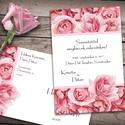 Esküvői meghívó különleges borítékban - rózsák, Esküvő, Naptár, képeslap, album, Meghívó, ültetőkártya, köszönőajándék, Képeslap, levélpapír, Klasszikus rózsaszínű rózsák keretbe rendezve. Az alap szett tartalma: -1db 10x15 cm méretű, egyolda..., Meska