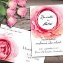 Esküvői meghívó különleges borítékban - nagy rózsa, Esküvő, Naptár, képeslap, album, Meghívó, ültetőkártya, köszönőajándék, Képeslap, levélpapír, Egy hatalmas rózsaszínű rózsa keretezi a pár nevét ezen a meghívón. Az alap szett tartalma: -1db 10x..., Meska